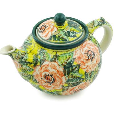 Polish Pottery 40 oz Tea or Coffee Pot | Boleslawiec Stoneware | Polmedia H4992H