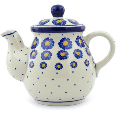 Polish Pottery 20 oz Tea or Coffee Pot | Boleslawiec Stoneware | Polmedia H0444J