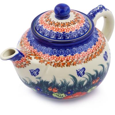 Polish Pottery 52 oz Tea or Coffee Pot | Boleslawiec Stoneware | Polmedia H2324F