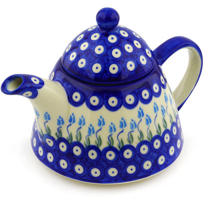 Polish Pottery 39 oz Tea or Coffee Pot | Boleslawiec Stoneware | Polmedia H0744F