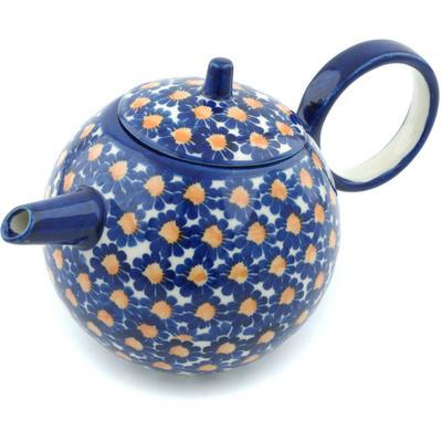 Polish Pottery 22 oz Tea or Coffee Pot | Boleslawiec Stoneware | Polmedia H9452H