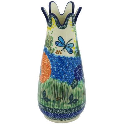 Polish Pottery 9-inch Vase | Boleslawiec Stoneware | Polmedia H9436G