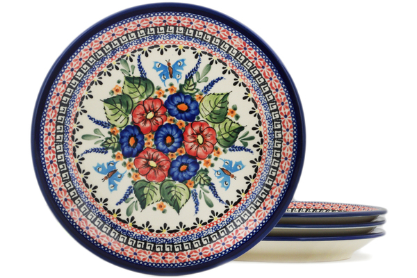 Polish Pottery Set of 4 Luncheon Plates by Zaklady Ceramiczne
