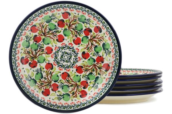 Polish Pottery Set of 6 Luncheon Plates by Zaklady Ceramiczne