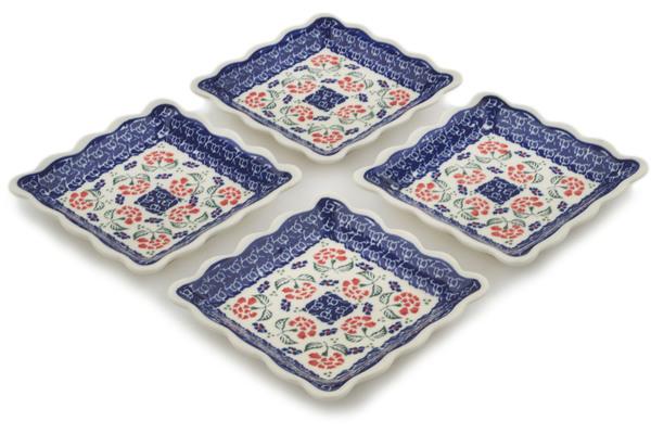 Polish Pottery Set of 4 Platters by Zaklady Ceramiczne