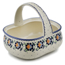 10-inch Stoneware Basket with Handle - Polmedia Polish Pottery H6692K