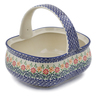 10-inch Stoneware Basket with Handle - Polmedia Polish Pottery H6727K