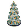 10-inch Stoneware Christmas Tree Candle Holder - Polmedia Polish Pottery H2053K