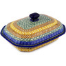 10-inch Stoneware Dish with Cover - Polmedia Polish Pottery H1452D