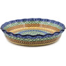 10-inch Stoneware Fluted Pie Dish - Polmedia Polish Pottery H6820A
