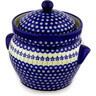 10-inch Stoneware Jar with Lid and Handles - Polmedia Polish Pottery H0350D