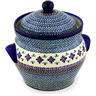 10-inch Stoneware Jar with Lid and Handles - Polmedia Polish Pottery H0351D