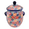 10-inch Stoneware Jar with Lid and Handles - Polmedia Polish Pottery H7846L