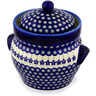 10-inch Stoneware Jar with Lid and Handles - Polmedia Polish Pottery H9371C