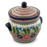 10-inch Stoneware Jar with Lid and Handles - Polmedia Polish Pottery H9490B