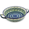 10-inch Stoneware Round Baker with Handles - Polmedia Polish Pottery H0589C