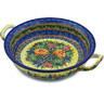 10-inch Stoneware Round Baker with Handles - Polmedia Polish Pottery H2368H