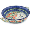 10-inch Stoneware Round Baker with Handles - Polmedia Polish Pottery H2605L