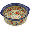 10-inch Stoneware Round Baker with Handles - Polmedia Polish Pottery H2695K