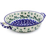 10-inch Stoneware Round Baker with Handles - Polmedia Polish Pottery H5551B