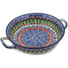 10-inch Stoneware Round Baker with Handles - Polmedia Polish Pottery H5616J