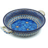 10-inch Stoneware Round Baker with Handles - Polmedia Polish Pottery H9460G