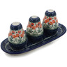 10-inch Stoneware Salt and Pepper with Toothpick Holder - Polmedia Polish Pottery H5025B