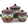 10-inch Stoneware Set of 3 Jars - Polmedia Polish Pottery H5305I