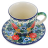 10 oz Stoneware Cup with Saucer - Polmedia Polish Pottery H1757E