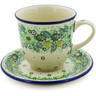 10 oz Stoneware Cup with Saucer - Polmedia Polish Pottery H8325J