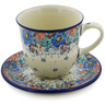 10 oz Stoneware Cup with Saucer - Polmedia Polish Pottery H8326J