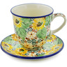 10 oz Stoneware Cup with Saucer - Polmedia Polish Pottery H8328J
