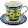 10 oz Stoneware Cup with Saucer - Polmedia Polish Pottery H8329J