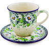 10 oz Stoneware Cup with Saucer - Polmedia Polish Pottery H8330J