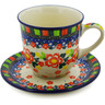 10 oz Stoneware Cup with Saucer - Polmedia Polish Pottery H8331J