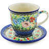 10 oz Stoneware Cup with Saucer - Polmedia Polish Pottery H8337J