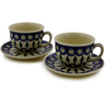 10 oz Stoneware Set of 2 Cups with Saucers - Polmedia Polish Pottery H1557K
