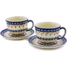 10 oz Stoneware Set of 2 Cups with Saucers - Polmedia Polish Pottery H1558K