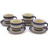 10 oz Stoneware Set of 4 Cups with Saucers - Polmedia Polish Pottery H0005K