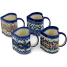 10 oz Stoneware Set of 4 Mugs - Polmedia Polish Pottery H0677L