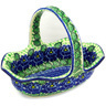 11-inch Stoneware Basket with Handle - Polmedia Polish Pottery H0558E