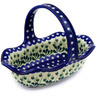 11-inch Stoneware Basket with Handle - Polmedia Polish Pottery H2232E