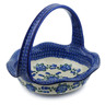 11-inch Stoneware Basket with Handle - Polmedia Polish Pottery H4263E
