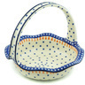 11-inch Stoneware Basket with Handle - Polmedia Polish Pottery H6610H