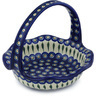 11-inch Stoneware Basket with Handle - Polmedia Polish Pottery H7485G