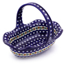 11-inch Stoneware Basket with Handle - Polmedia Polish Pottery H8409B