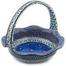 11-inch Stoneware Basket with Handle - Polmedia Polish Pottery H9543G