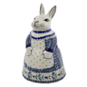 11-inch Stoneware Bunny Shaped Jar - Polmedia Polish Pottery H6553K