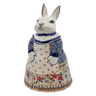 11-inch Stoneware Bunny Shaped Jar - Polmedia Polish Pottery H6565K