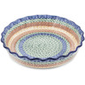 11-inch Stoneware Fluted Pie Dish - Polmedia Polish Pottery H6841A